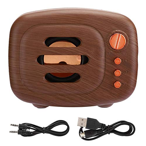 Speakers, HiFi sound quality Support memory card mini bluetooth speaker, noise reduction for desktop laptop for(Wood grain)