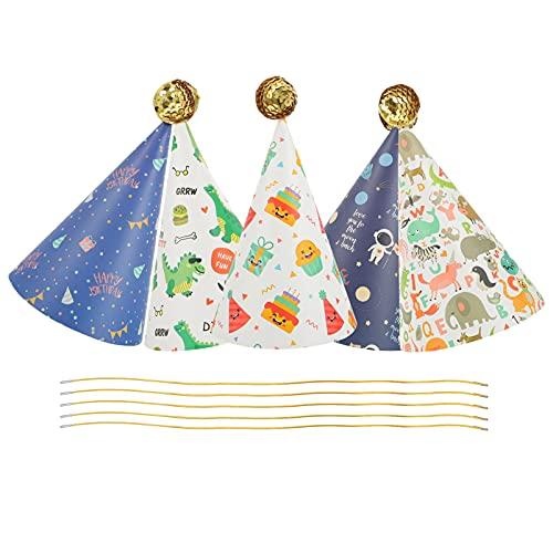 Tomaibaby 5 Juegos de Sombreros de Fiesta de Cono con Pom Pom Niños Sombreros de Fiesta de Cumpleaños Dinosaurio Astronauta Patrón Feliz Cumpleaños Sombrero Helado Fiesta Suministros