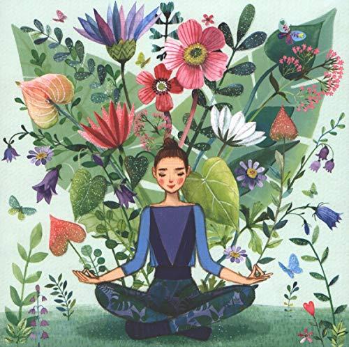 Illustrierte Postkarte von Mila Marquis 140x140mm ~ Yoga ~ Glitzer