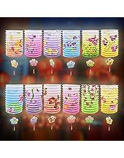 BUZIFU 12 szt. chińskie papierowe lampiony lampa kolorowe wiszące papierowe latarnie odcienie chiński Nowy Rok papierowe lampiony japońskie papierowe papierowe latarnia sufit wisząca dekoracja na urodziny wesele