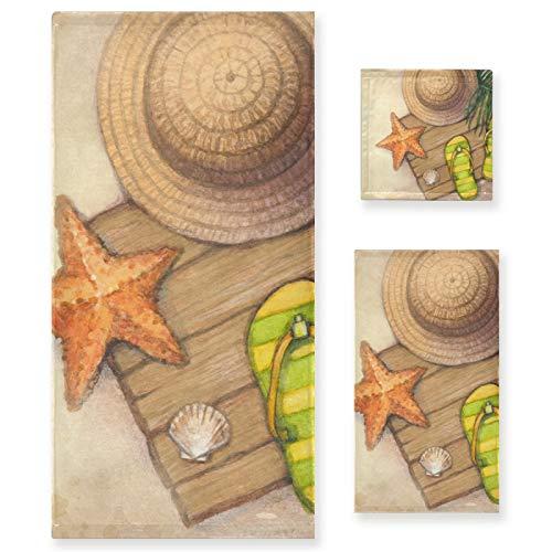 PIXIUXIU - Juego de 3 toallas de algodón altamente absorbentes de secado rápido para playa, estrellas de mar, palmeras, hojas de mar, juego de toallas de baño para uso diario