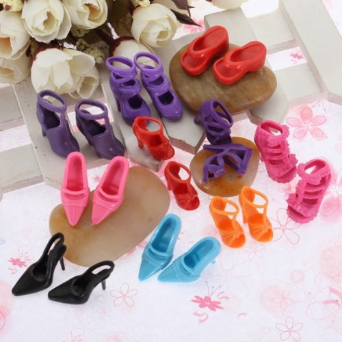 fat-catz-copy-catz 20 Paires De Assortiment Chaussures Mode Sandales Talon Haut pour Poupée Barbie Sindy Déguisement Jouet