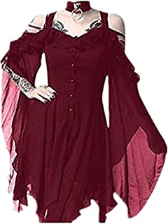 MILIMIEYIK Plus Size Gothic Dresses for Women Special Occasion Dark in Love Ruffle Sleeves Off Shoulder Midi Dress