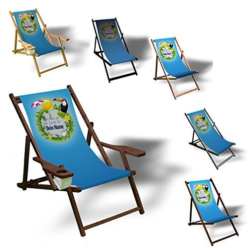 Printalio - Wunschtext - Platz an der Sonne - Liegestuhl Bedruckt Balkon Garten Sonnenliege Relax Holz Terrasse | mit Armlehne, Dunkelbraun