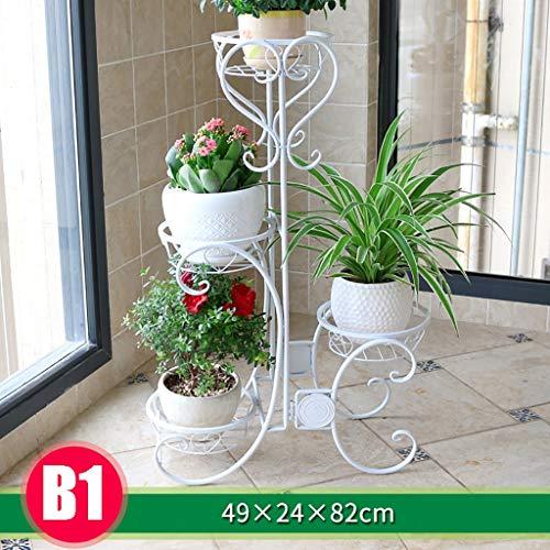 Las estanterías de pie Soporte de flores nórdico de hierro forjado de pie, estantes de patio de jardín con soporte de hierbas de flores de metal, 3/4 capas for elegir, estante de exhibición de piso de