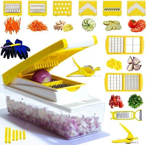 Mandoline Slicer Vegetable Chopper Potato Slicer 26 Piece Fruits and Vegetable Slicer Lemon product image