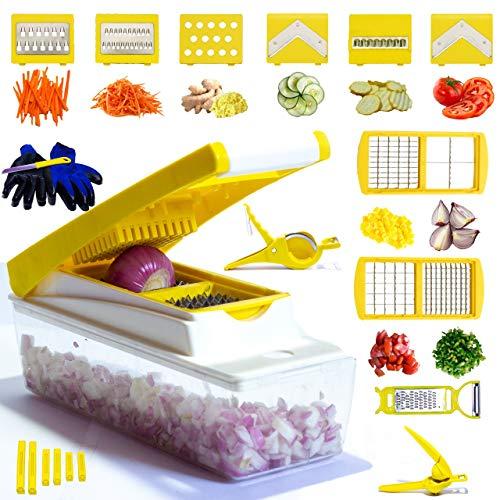 Mandoline Slicer Vegetable Chopper Potato Slicer 26 Piece Fruits and Vegetable Slicer  Lemon Squeezer  Grater/Spiralizer/Opener/Cutter  Kit