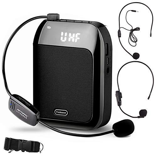 Yodeace Amplificador de Voz,Microfono Inalambrico con 2 Micrófonos 5W 2400 mAh Portatil para Profesores,Guía Turístico,apoyo USB/TF/FM/grabación/Bluetooth