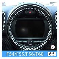 Phoenixset 車のインテリアトリムアクセサリーステアリングホイール装飾カバーカースタイリングフィットミニクーパーS F54 F55 F56 F66 F60 Clubman Countryman (Color Name : Black white 3)
