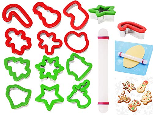 JOYIN13 Pieces Stainless Steel Christmas Cookie Cutters with Comfort Grip 3.5í plus a Rolling Pin for Large Holiday Cookies, Snowflake Cookies, Gingerbread Man Cookies, Christmas Party and Baking Gift