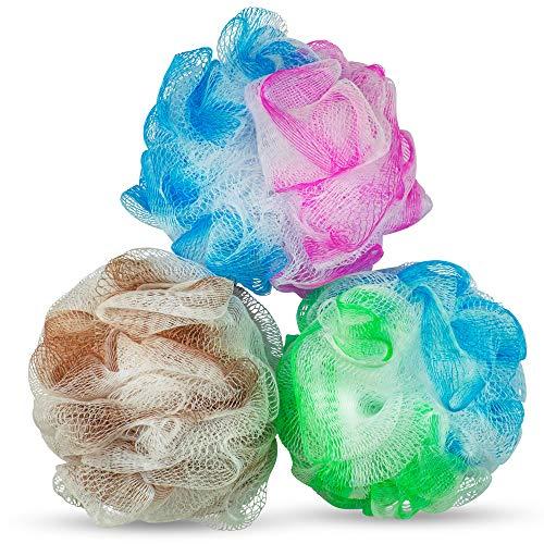 DecorRack Bath Shower Loofahs, Soft Mesh Pouf Body Bathing Sponge Loofah Scrubber (Pack of 3)