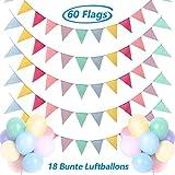 [page_title]-Dusor Wimpelkette Outdoor, 5Stück 60Pcs Wimpel Girlande + 18Pcs Bunte Luftballons, Lmitation Leinen Wimpel Girlande Outdoor, Wimpelkette Kinderzimmer Geburtstag Outdoor Hochzeit Party