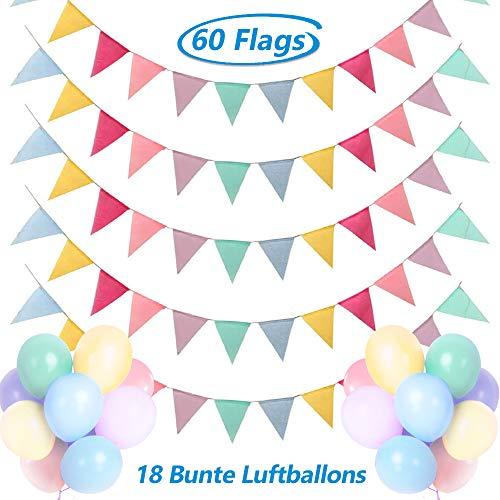 Dusor Wimpelkette Outdoor, 5Stück 60Pcs Wimpel Girlande + 18Pcs Bunte Luftballons, Lmitation Leinen Wimpel Girlande Outdoor, Wimpelkette Kinderzimmer Geburtstag Outdoor Hochzeit Party