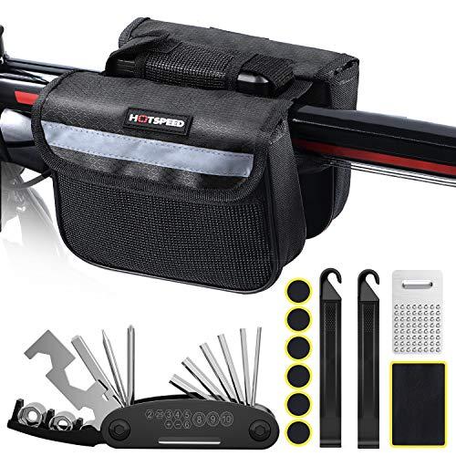 Aiweite Fahrrad Multitool, 16-in-1 Fahrrad-Reparaturset mit Vor-Satteltasche, Fahrrad-Multifunktionswerkzeug für Fahrradreparaturen (einschließlich Reifenflicken/Metallfeile/Reifenheber),(Schwarz)