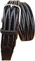 ESPERANTO Cintura elastica in pelle unisex finiture vero cuoio made in Italy, 3,5 cm accorciabile con fibbia nichel free...