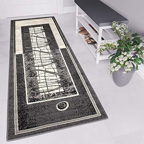 TAPISO Tappeto Passatoia Dream Camera Corridoio Salotto Moderno Colore Grigio Scuro Disegno Astratto Migliore qualità 80 x 500 cm