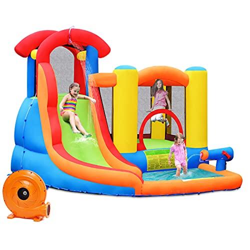 Goplus Castello Gonfiabile Gigante, Area di Gioco Gonfiabile 5 in 1, Trampolino con Scivolo e Piscina, Gonfiabile con Compressore Elettrico, per 4 Bambini di età 3-10 Anni