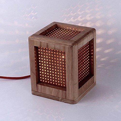 Chinoise traditionnelle en bois cube Lampe de table chambre Lampe de table créative Jeu fin enfants Chambre Lampes de table