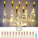 12 Pack Candle Flame style Wine Bottle Cork String Lights,Battery Operated LED Cork Shape Silver Copper Wire Colorful Fairy Mini String Lights for DIY,Party,Christmas,Halloween,Wedding Decoration