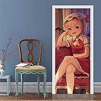 寝室用の3Dドアステッカー漫画の女の子のキャラクター 95X215Cm防水自己粘着ドアデカールポスター壁紙キッチンバスルーム家の装飾ビニールステッカー取り外し可能な壁画