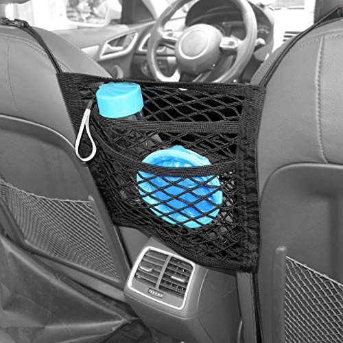 DEDC Super Duty 2-Layer Universal Car Seat Net Organizer Mesh Cargo Net Pouch Driver Storage Netting Pouch for Purse Phone Pets Dogs Kids Disturb Stopper (2 Layer Net)