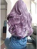 ZHUAN Peluca Frontal de Encaje sintético Corte Ondulado en Capas Estilo Ondulado Peluca Frontal de Encaje Púrpura Púrpura Oscuro Pelo sintético Rizador y Plancha para Mujer Peluca púrpura Longitud