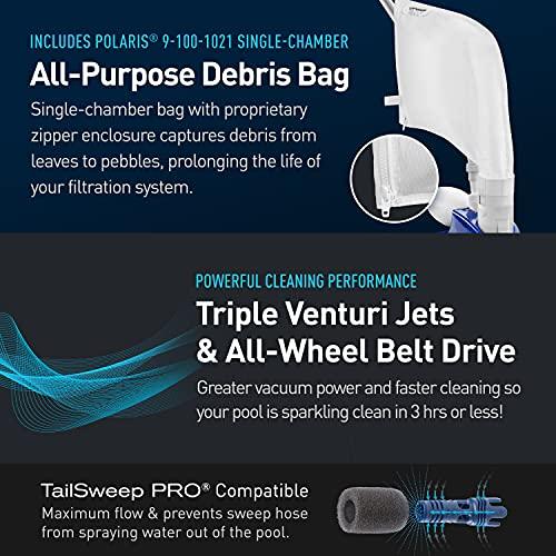 Polaris Vac-Sweep 360 Pressure Inground Pool Cleaner, Triple Jet Powered with a Single Chamber Debris Bag