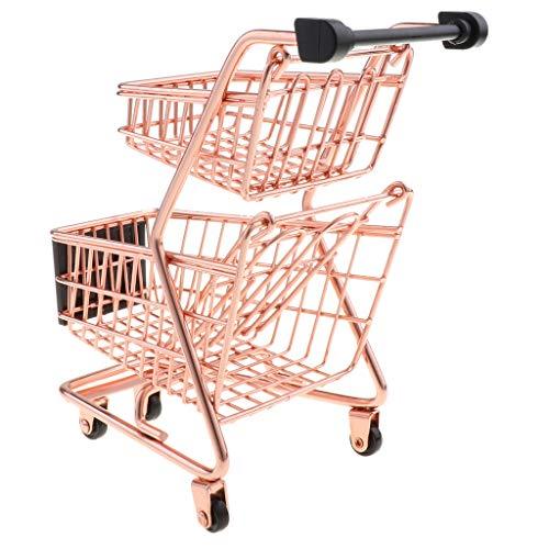 B Blesiya Mini Carro de Compra de Supermercado de Simulación Organizador de Escritorio Juguete Divertido para Niños Adultos - Oro Rosa
