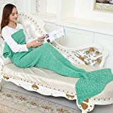 abc-outlet Mermaid Blanket Knitted Mermaid Sleeping Bag for Bed Sofa Couch, Soft All Seasons Crochet Mermaid Tail Blanket Mermaid Throw Blanket for Adult and Children - Mint