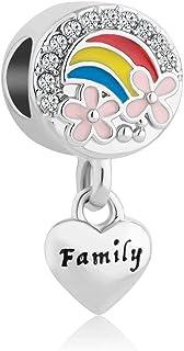 Q&Locket Heart Love Family Charms Rainbow Flower Charm Beads for Bracelets