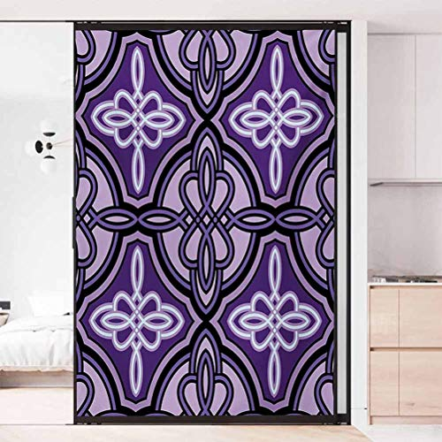 Static Cling Stained Glass Film Window, Celtic Unique Celtic Knot Figures with Swirling and Tw, Static Glass Film for Bathroom Office Meeting Room Living Room, W17.7xH35.4 Inch