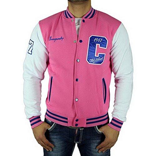 Cabeneli CABANELI Oldschool College Jacke Sweatjacke Pullover ROSA - WEIß NEU!, Größe:S