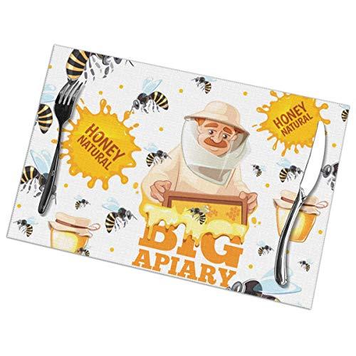 N/A Apiary Patroon Honing Bijen En Bijenhouders In Masker Placemat Wasbaar Voor Keuken Diner Tafelmat, Gemakkelijk te reinigen Makkelijk Te Vouwen Plaats Mat 12x18 Inch Set Van 6