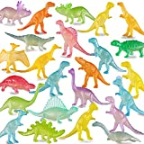 Yeonha Toys 96 Piece Glow in Dark Mini Dinosaur Toy Set(24 Style), Plastic Realistic Dino Figure, Luminous Noctilucent for Kid Birthday Party Favors Goody Bag Cake Toppers Pinata Easter Eggs Filler