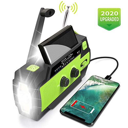 Emergency Flashlight Radio,2020 Upgraded AM/FM/NOAA Weather Solar Crank Radio with 4000 mAh Replaceable Li-ion Battery, Sensor Reading Lamp,3 Modes Flashlight,Phone Charger for Hurricanes, Tornadoes