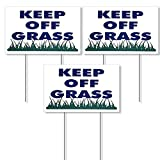 Keep Off Grass Sign 8'X12' - Plastic Coroplast Yard Signs with Stakes New - Stay Off Grass Signs - Keep Dog Off Lawn Signs - Golf Grass Sign - Stay Off Lawn Sign - Outdoor Sign Holder Stake 3 Sign