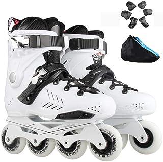 ファンシーローラースケート、成人用洗えるインラインスケート、フルフラッシュ、通気性スケート、ブラック、ホワイト (Color : White, Size : 41 EU/8 US/7 UK/25.5cm JP)