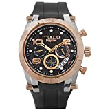 Mulco Watches for Women Kripton Lady, 42MM Case, Analog Quartz Watch, Rose Gold Watch Accent with Pearl Finish, Water Resistant, Silicone Band (Black)