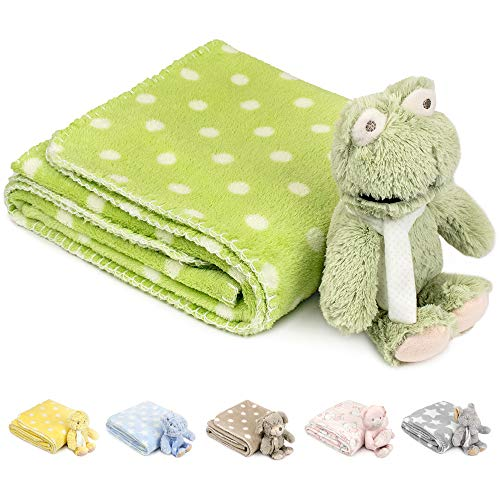 JOIE BEAN Baby Blanket and Stuffed Animal Set for Boys, Girls | 2 Piece Plush Toy Frog and Soft Fleece Security Throw Blanket for Baby, Newborn | Perfect Baby Shower Present (Green)