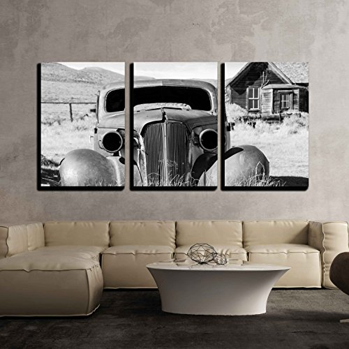 """wall26 - 3 Piece Canvas Wall Art - Old Abandoned Car in Black and White Has Seen Better Days - Modern Home Art Stretched and Framed Ready to Hang - 16""""x24""""x3 Panels"""