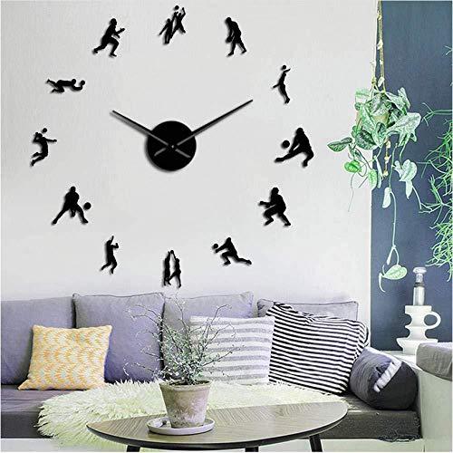 reloj de pared de bricolaje Bichon Frieze reloj de pared grande con espejo 3D Bichón Tenerife reloj deportivo silencioso sin tick Reloj de pared Bichon Curly