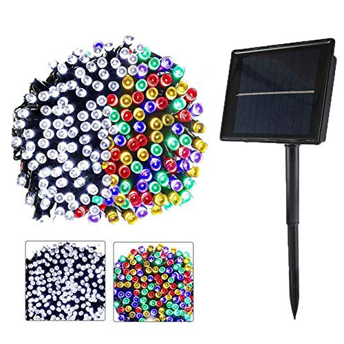 Solar Outdoor String Lights 72ft 200 LED White and Multicolor Changing in One Light Waterproof Lighting for Christmas, Holiday Decoration, 8 Modes Fairy Lights, 2 Color in one (White+Colorful)