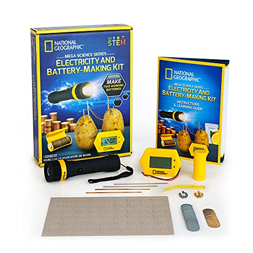NATIONAL GEOGRAPHIC Battery Making Kit - Potato Clock and Penny Powered Flashlight Science Kit, 2 STEM Electricity Projects Great for Girls and Boys, Science Projects That Teach Kids About Circuits