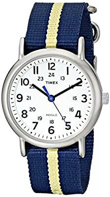 Timex Unisex T2P142 Weekender Blue/Yellow Stripe Nylon Slip-Thru Strap Watch from Timex