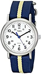 "Timex Unisex T2P1429J ""Weekender"" Watch with Navy and Tan Nylon Strap"