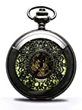 Steampunk Vintage Luminous Roman Letters Skeleton Mechanical Pocket Watch with Chain (Carved - Luminous)