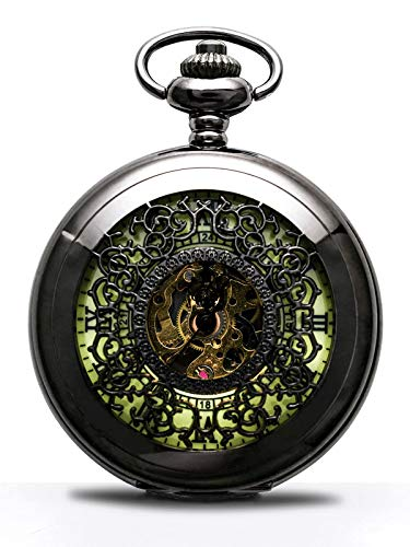 Unique Mechanical Hand-wind Steampunk Display Luminous Dail Pocket Watch Mechanical hand-wound movement(Magnetic field / temperature and impact will affect the accuracy of the watch, Daily manual winding and adjustment can reduce the deviation), and ...