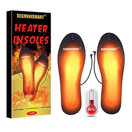 SEGMINISMART Beheizbare Einlegesohlen,Fußwärmer,Sohlenwärmer, Wärmesohle,Fußwärmer Wärme Thermosohlen,Thermosohlen Fußwärmer für Männer und Frauen (41-46)