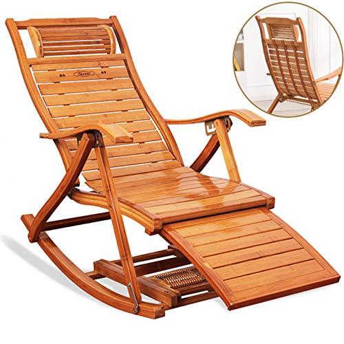 XEWNEGTZI Mecedora De Bambú Ajustable Reclinable Plegable, con Reposapiés Y Reposabrazos, Almohadilla De Algodón Extraíble, para Jardín Al Aire Libre Balcón Tumbona, Carga 200 Kg