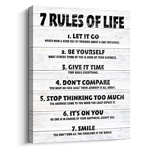 Pigort Motivational Quotes Wall Decor 7 Rules of Life Inspirational Motto Canvas Print Wall Art...